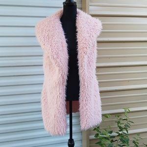 Me Jane light pink open front  faux fur vest